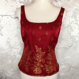 Ann Taylor Red Silk Gold Embroidered Slvless Top